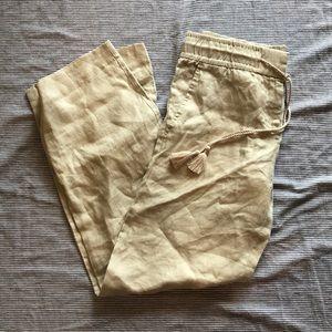 Ann Taylor Loft Linen Lounge Pants Cream Size: 0